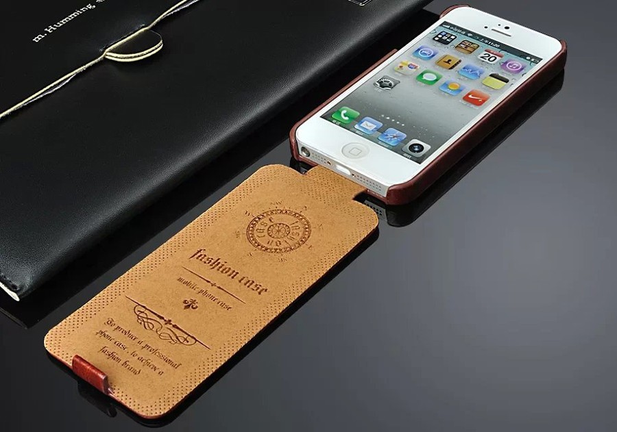 Eļļa-vasks Īstas Ādas Vertikālā Flip Cover Case for Apple iPhone 5 5S SE (4.0